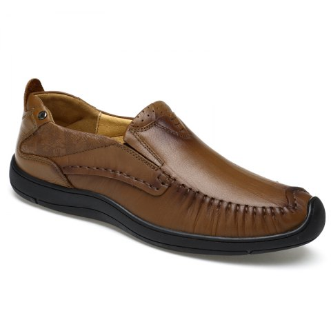 Hand Made Slip on Leather Shoes - MOCHA 42