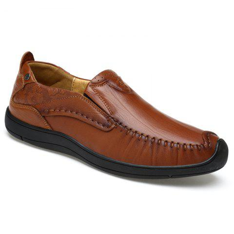 Hand Made Slip on Leather Shoes - TAN 42