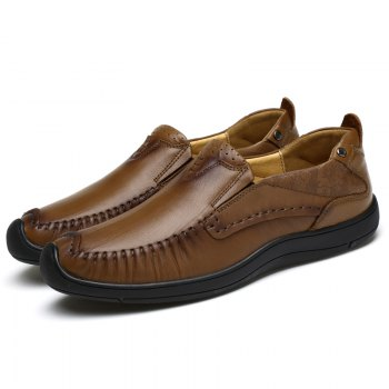 Hand Made Slip on Leather Shoes - MOCHA 41