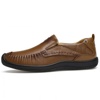 Hand Made Slip on Leather Shoes - MOCHA 39