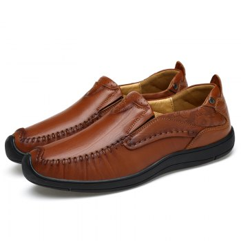 Hand Made Slip on Leather Shoes - TAN 39