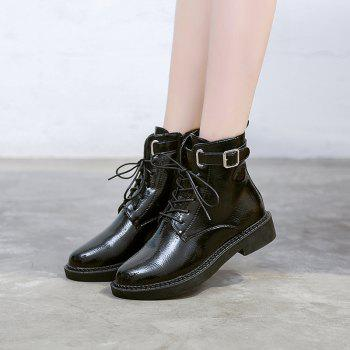 High Leather Plus Retro Cashmere All-match  Martin Boots - BLACK 36
