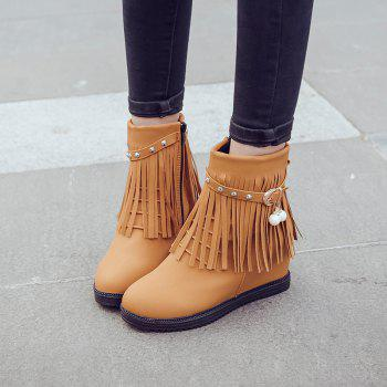 Autumn and Winter Increase Flat Bottomed Fringed Female Boots - EARTHY 38