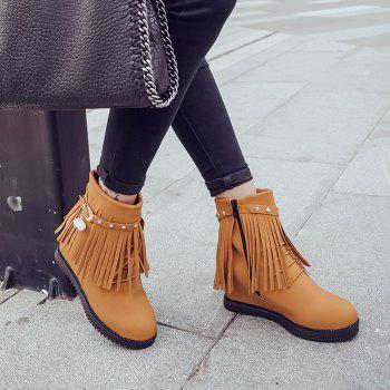 Autumn and Winter Increase Flat Bottomed Fringed Female Boots - EARTHY 36