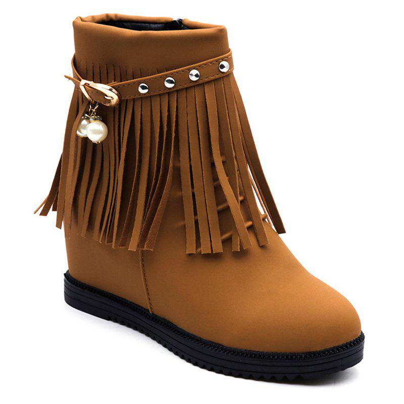 Autumn and Winter Increase Flat Bottomed Fringed Female Boots - EARTHY 35