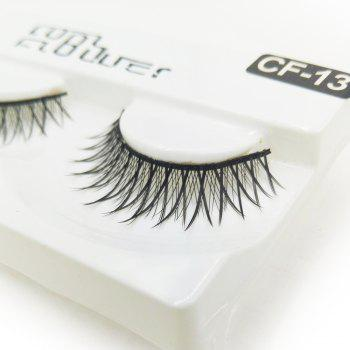 1 Pair Black Natural Roll Become Warped Long False Eyelash - BLACK