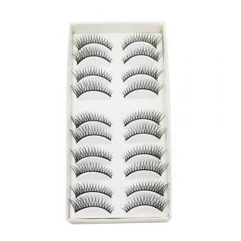10 Pairs Black Cross Eye end Spin False Eyelash - BLACK BLACK