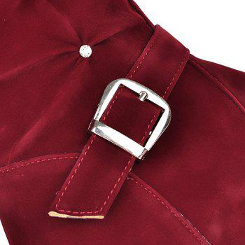 Round Flat Bottom Thickening Fashion Belt Buckle Short Boots - RED RED