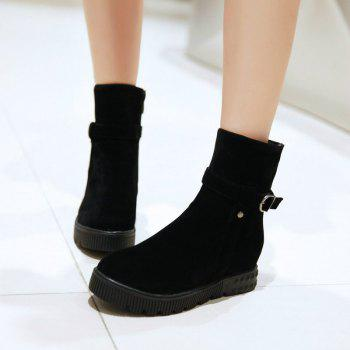 Round Flat-Bottomed Thick Simple Wild Short Boots - BLACK BLACK