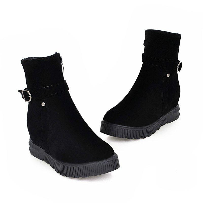 Round Flat-Bottomed Thick Simple Wild Short Boots - BLACK 38