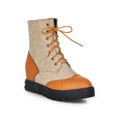 Round Flat-Bottomed High Fashion Strap Color Mosaic Martin Boots - YELLOW 34