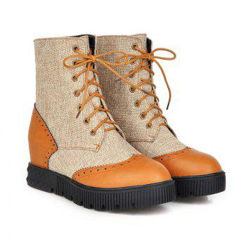 Round Flat-Bottomed High Fashion Strap Color Mosaic Martin Boots - YELLOW 36