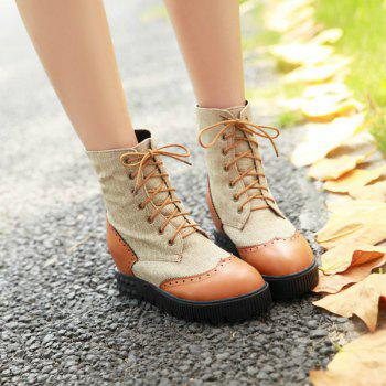 Round Flat-Bottomed High Fashion Strap Color Mosaic Martin Boots - YELLOW YELLOW