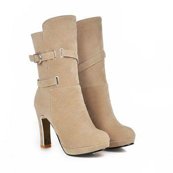 Round Head with High-Heeled Fashion Belt Buckle Sexy Short Boots - BEIGE 41