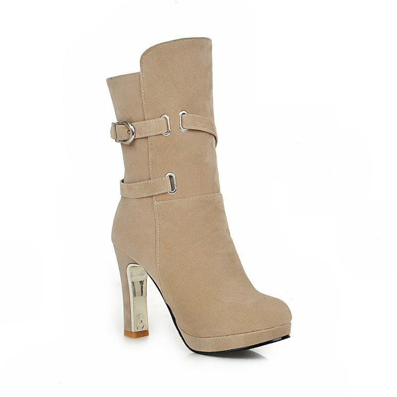 Round Head with High-Heeled Fashion Belt Buckle Sexy Short Boots - BEIGE 40