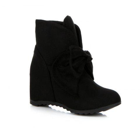 Round Head Bow Increased Fashion Sweet Boots - BLACK 37