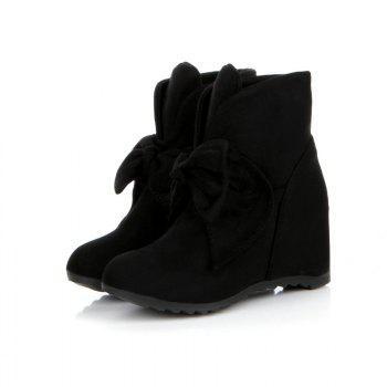 Round Head Bow Increased Fashion Sweet Boots - BLACK BLACK