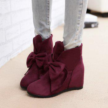 Round Head Bow Increased Fashion Sweet Boots - WINE RED WINE RED