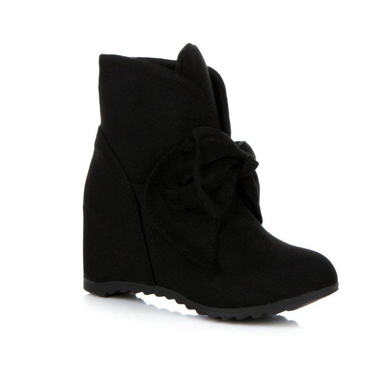 Round Head Bow Increased Fashion Sweet Boots - BLACK 41