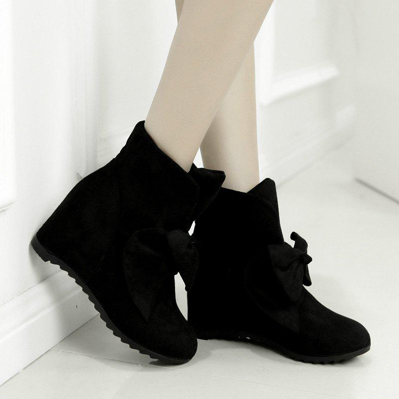 Round Head Bow Increased Fashion Sweet Boots - BLACK 40