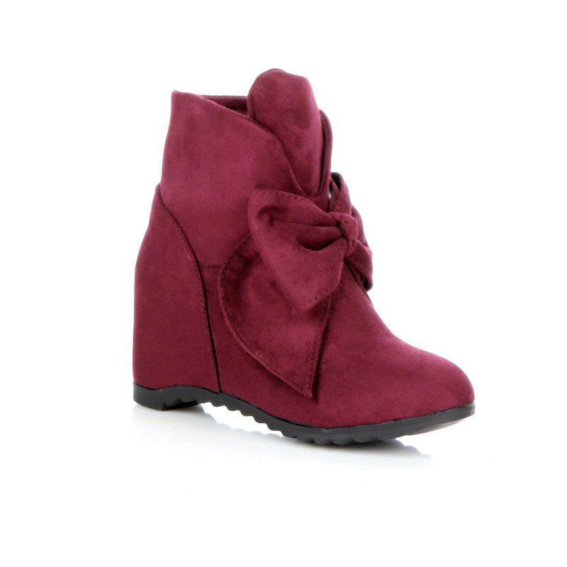 Round Head Bow Increased Fashion Sweet Boots - WINE RED 39