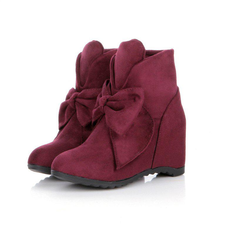 Round Head Bow Increased Fashion Sweet Boots - WINE RED 37