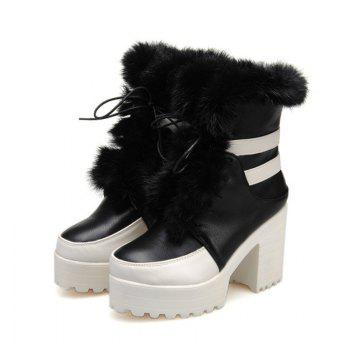Round Head with High Heels Fashion Lace Boots - BLACK BLACK