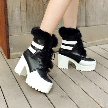 Round Head with High Heels Fashion Lace Boots - BLACK 34