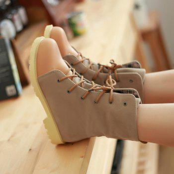 Round Waterproof Platform with Low Casual Lace Boots - APRICOT 35