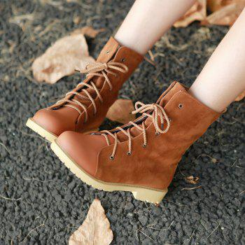 Round Waterproof Platform with Low Casual Lace Boots - YELLOW BROWN YELLOW BROWN