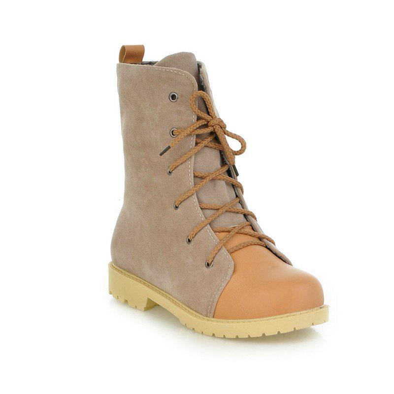 Round Waterproof Platform with Low Casual Lace Boots - APRICOT 36