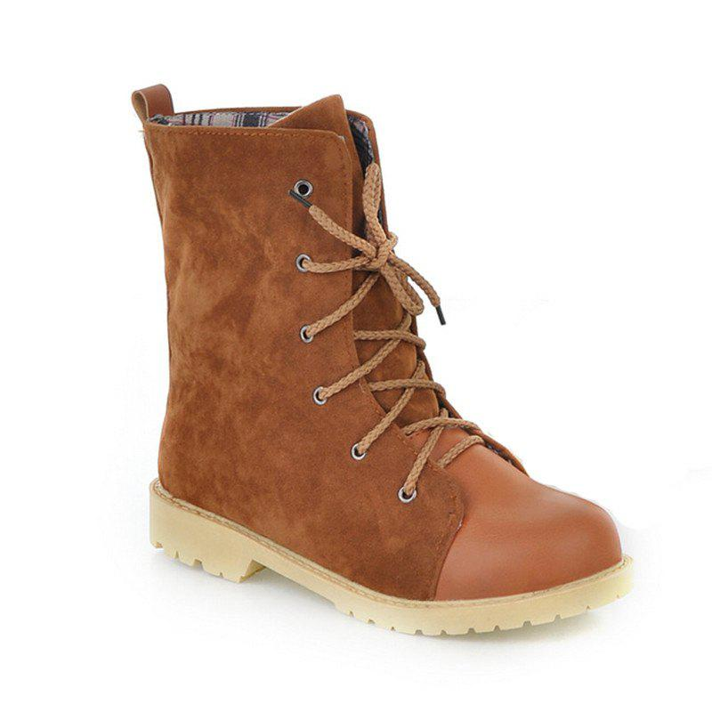 Round Waterproof Platform with Low Casual Lace Boots - YELLOW BROWN 39