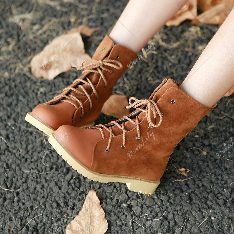 Round Waterproof Platform with Low Casual Lace Boots - YELLOW BROWN 42