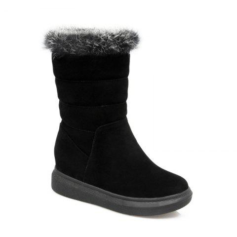Round Flat-Bottomed High Fashion Boots - BLACK 38