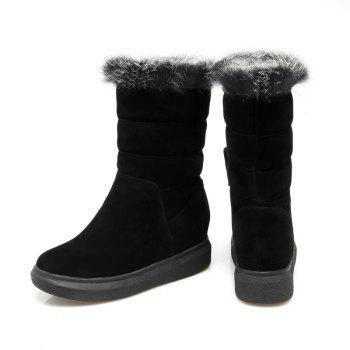 Round Flat-Bottomed High Fashion Boots - BLACK BLACK