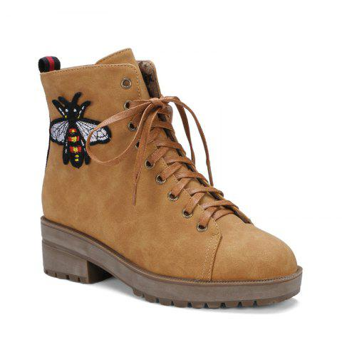 Square Rough Wild Lace Martin Boots - YELLOW 38