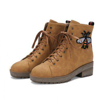 Square Rough Wild Lace Martin Boots - YELLOW YELLOW