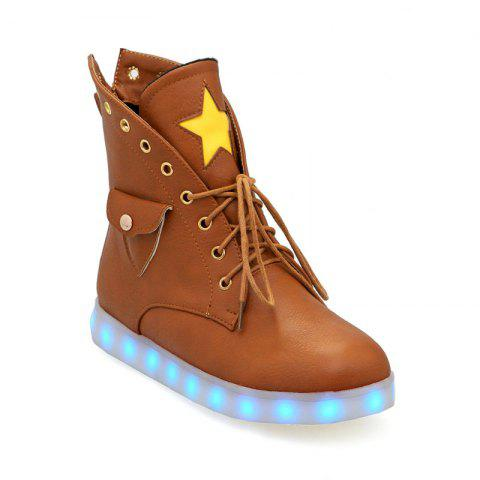 Flat-Bottomed Round Flat Bottomed Glowing Lace Boots - YELLOW BROWN 38