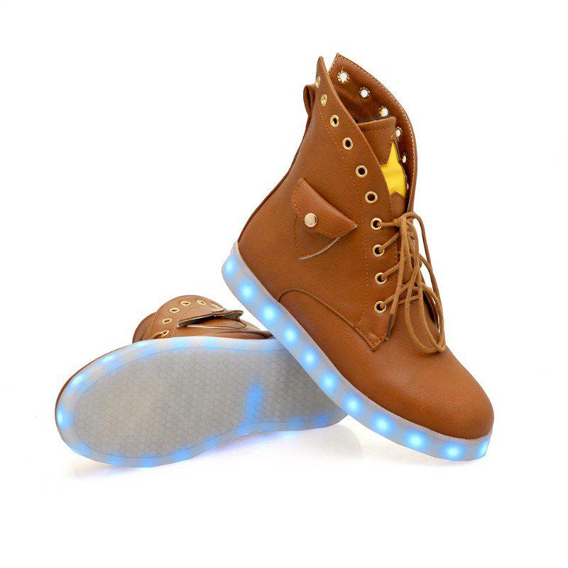 Flat-Bottomed Round Flat Bottomed Glowing Lace Boots - YELLOW BROWN 35