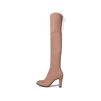 Round Head with High Heel Sexy Stretch Matte Knee Boots - PINK PINK