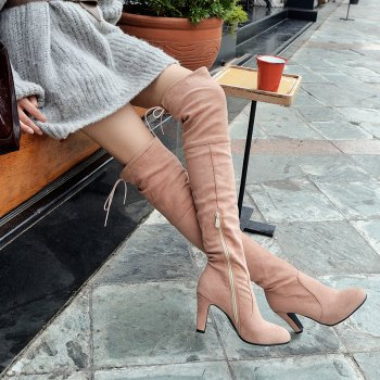 Round Head with High Heel Sexy Stretch Matte Knee Boots - PINK 34