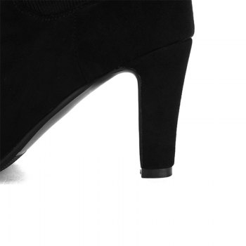 Round Head with High Heels Sexy Stretch Knight Boots - BLACK BLACK