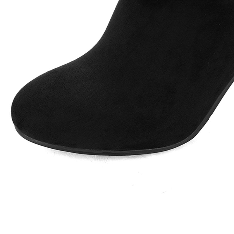Round Head with High Heels Sexy Stretch Knight Boots - BLACK 35