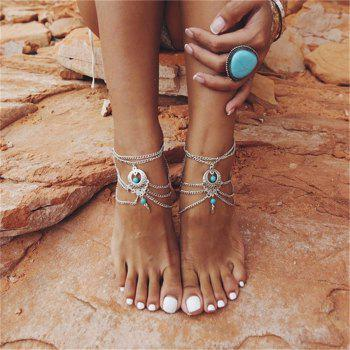 Bohemia Wind Vintage Turquoise Pendant Lady Anklet Chain - SILVER SILVER