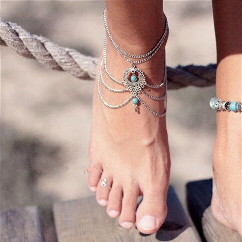 Bohemia Wind Vintage Turquoise Pendant Lady Anklet Chain - SILVER