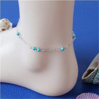 Stylish Female Turquoise Jewelry Anklets Chain - SILVER