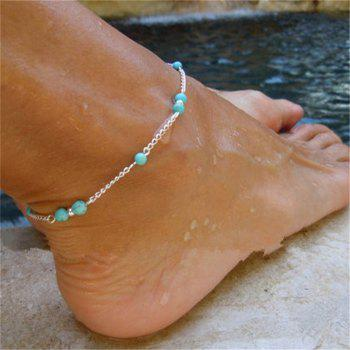 Stylish Female Turquoise Jewelry Anklets Chain - SILVER SILVER