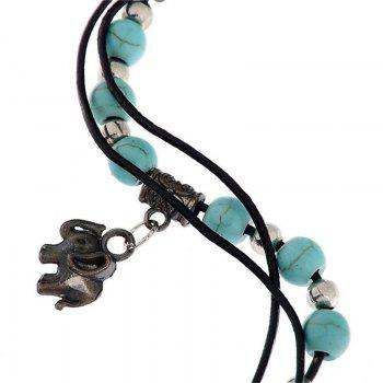 Fashion Turquoise Bead and Antique Silver Elephant Pendant Anklet -  GREEN