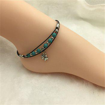 Fashion Turquoise Bead and Antique Silver Elephant Pendant Anklet - GREEN GREEN