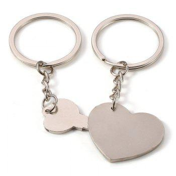 Fashion Simple Heart-shaped Lovers Silver Key Buckle - SILVER